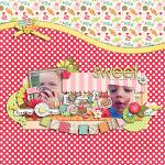 Digital scrapbooking layout by Lizzy using Yummy Scrummy kit by lliella designs