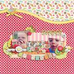 Digital scrapbooking layout by Lizzy using Yummy Scrummy kit by lliella designs