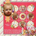 Digital scrapbooking layout by Michelle using Yummy Scrummy kit by lliella designs