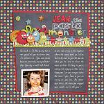 Digital scrapbooking layout by Jacinda using Monsterific kit by lliella designs
