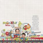 Digital scrapbooking layout by Lizzy using Monsterific kit by lliella designs