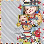 Digital scrapbooking layout by Traci using Monsterific kit by lliella designs