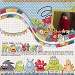 Digital scrapbooking layout by Rebecca using Monsterific kit by lliella designs