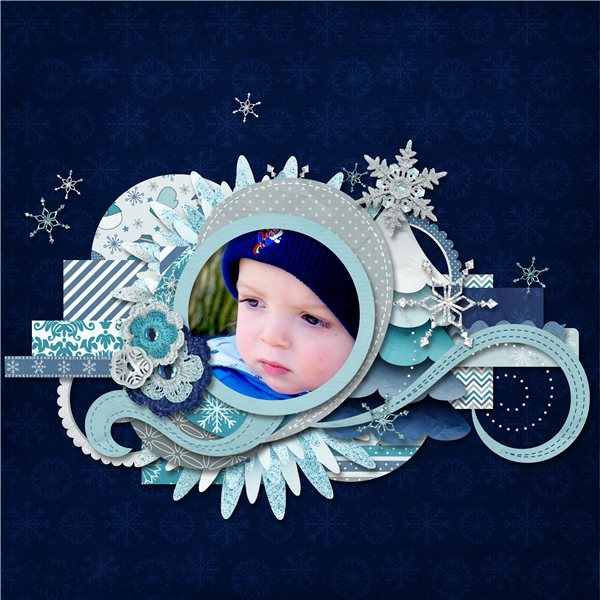Digital scrapbooking layout by Sanka using Snowflakes Kit by lliella designs