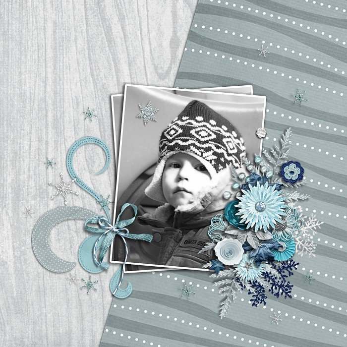 Digital scrapbooking layout by Loni using Snowflakes Kit by lliella designs