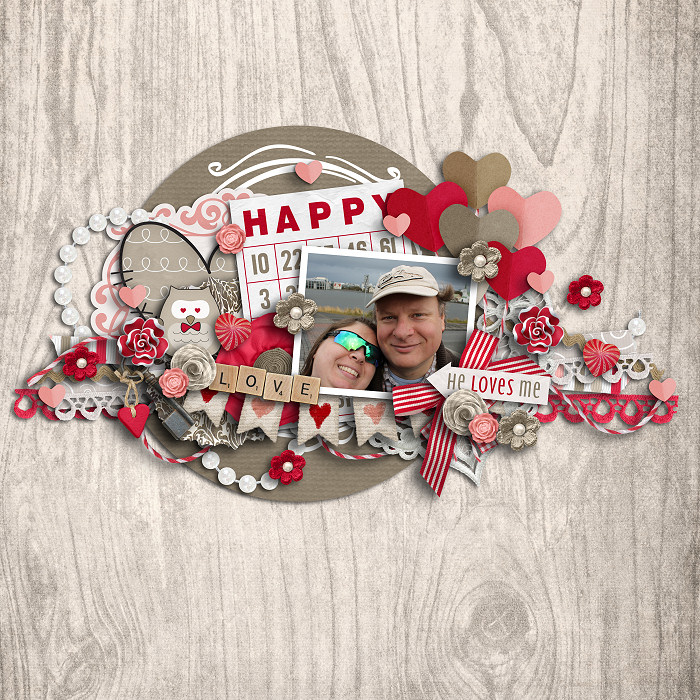 Digital scrapbooking layout by Jenn using Owl For Love Kit by lliella designs