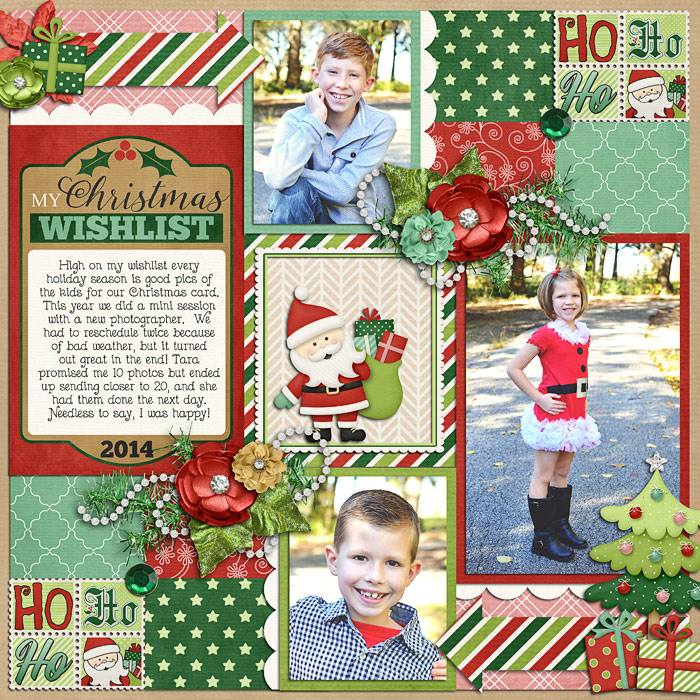 Digital scrapbooking layout by Jill using Santa is Coming to Town Kit by lliella designs