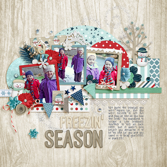 Digital scrapbooking layout by Lizzy using Hello Winter Kit by lliella designs