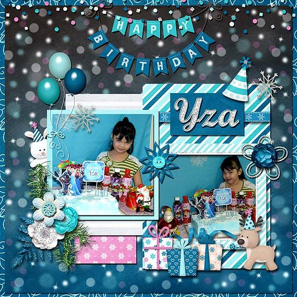 Digital scrapbooking layout by Edna using Frosty Party Kit by lliella designs