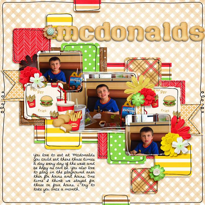 Digital scrapbooking layout by Hailey using Fast Foodie Kit by lliella designs