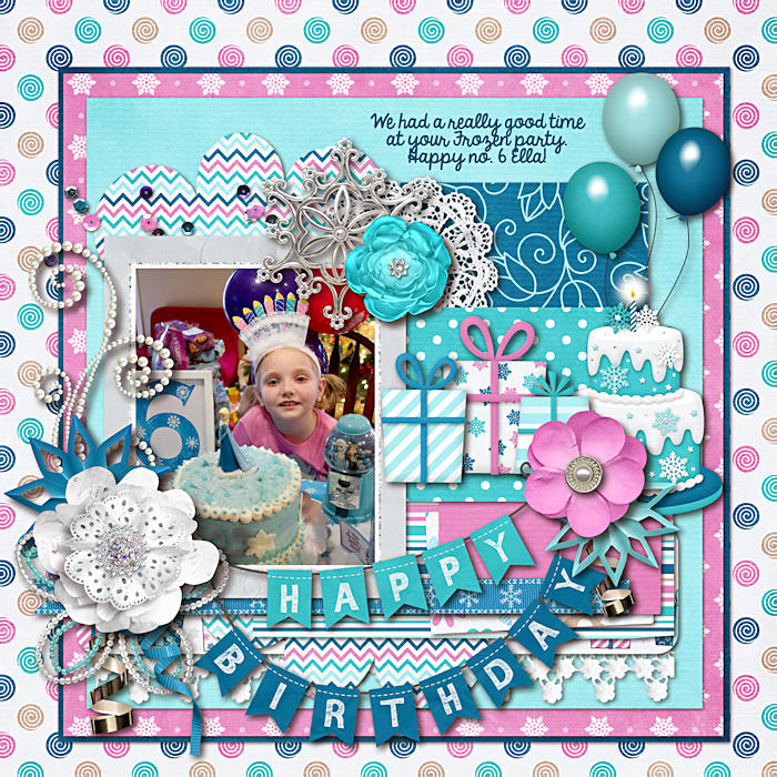 Digital scrapbooking layout by Nikki using Frosty Party Kit by lliella designs