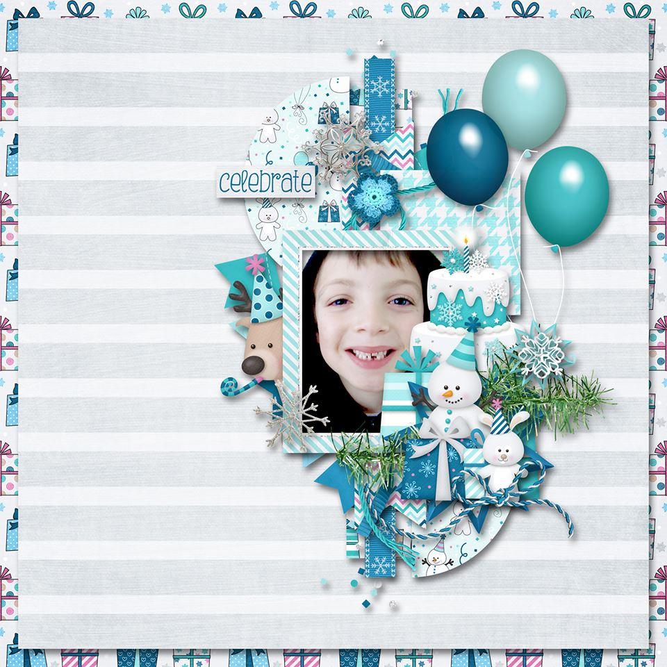 Digital scrapbooking layout by Sanka using Frosty Party Kit by lliella designs