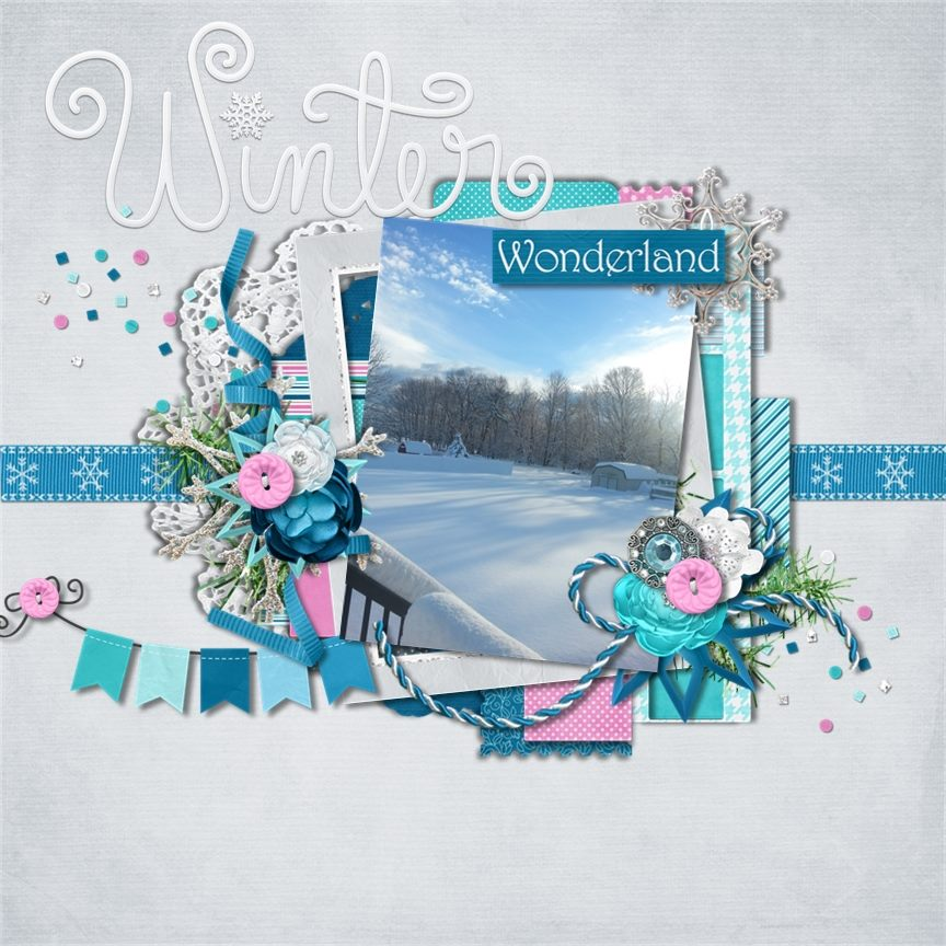 Digital scrapbooking layout by Teresa using Frosty Party Kit by lliella designs