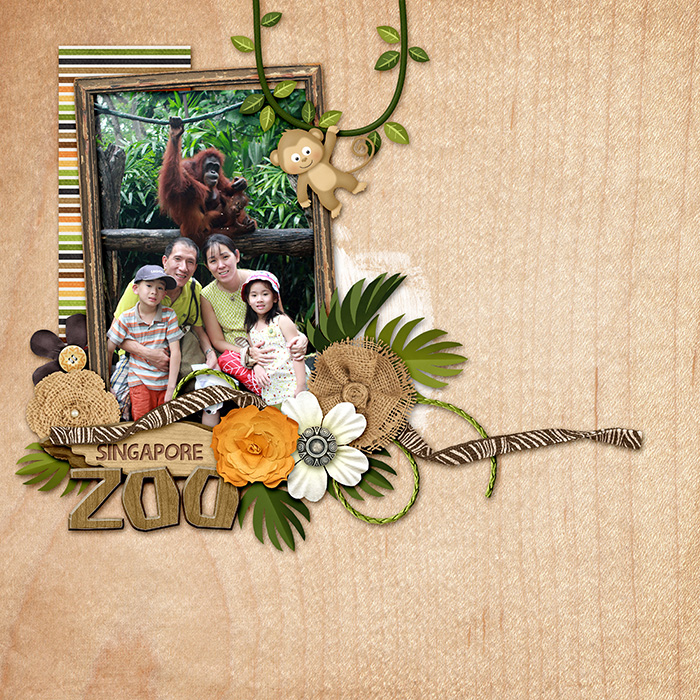 Digital scrapbooking layout by Allie using Zoo Adventures Kit by lliella designs