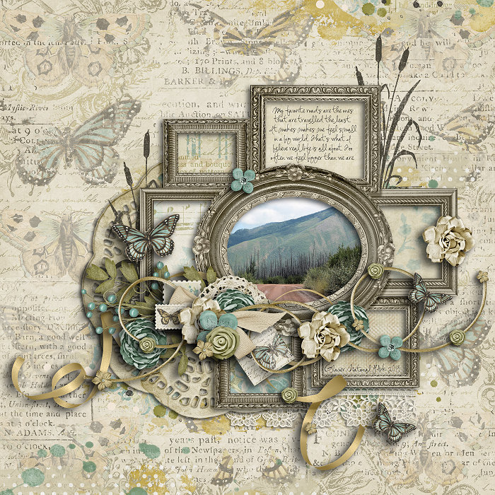 Faded digital scrapbook kit layout