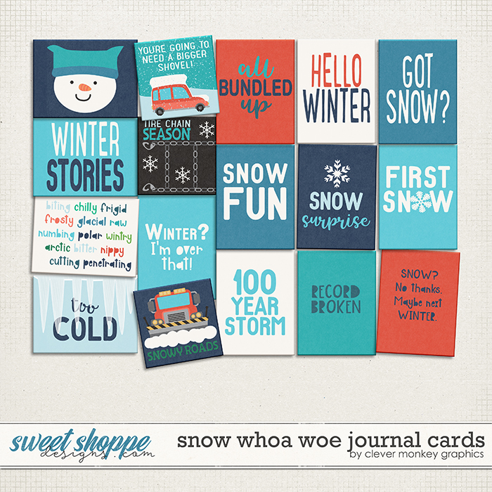 Snow Whoa Woe Cards by Clever Monkey Graphics