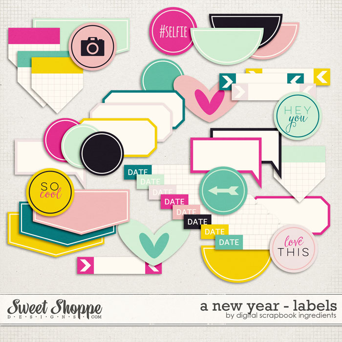 A New Year | Labels and Stickers by Digital Scrapbook Ingredients