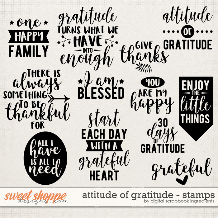 Attitude Of Gratitude Stamps by Digital Scrapbook Ingredients