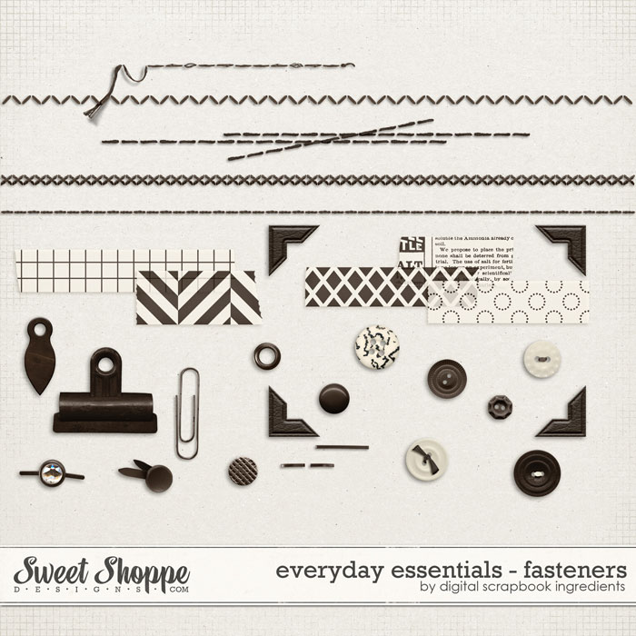 Everyday Essentials | Fasteners by Digital Scrapbook Ingredients