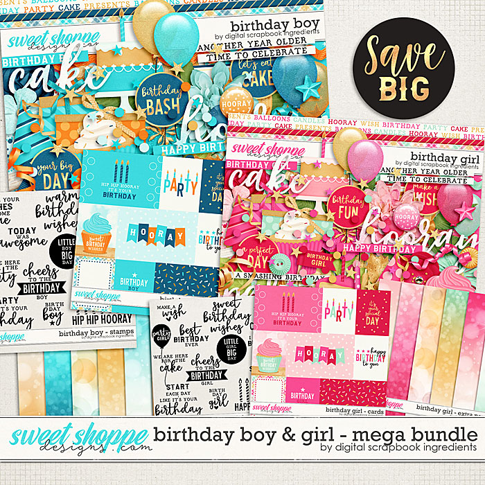 Birthday Boy & Girl Mega Bundle by Digital Scrapbook Ingredients