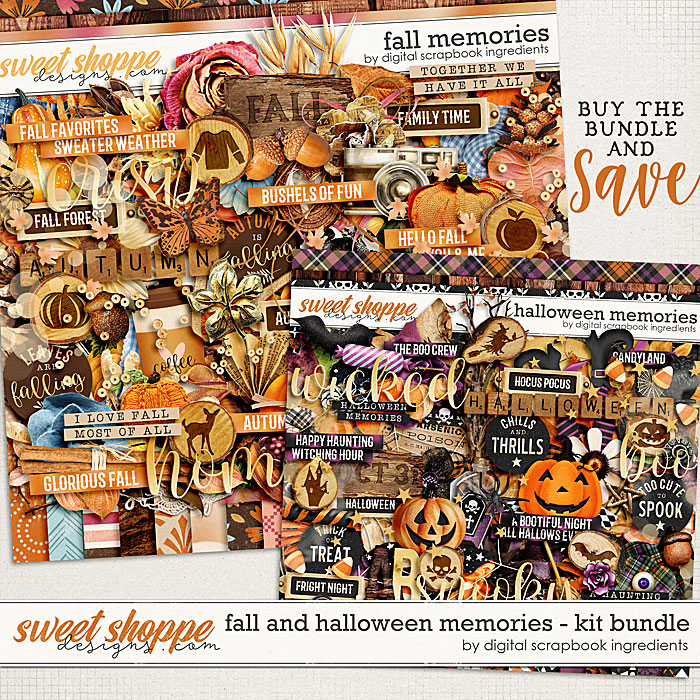 Fall & Halloween Memories Kit Bundle by Digital Scrapbook Ingredients