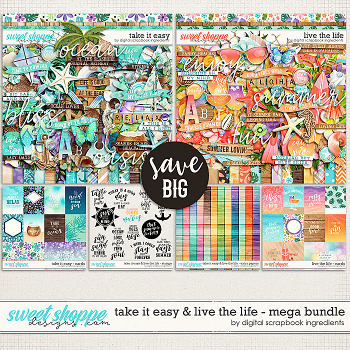 Take It Easy & Live The Life Mega Bundle by Digital Scrapbook Ingredients