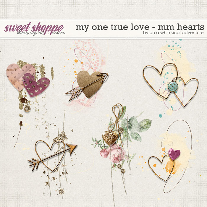 My One True Love Mixed Media Hearts by On A Whimsical Adventure