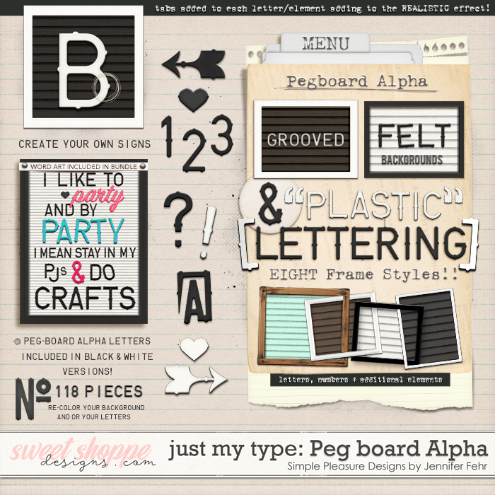 Just my Type Peg-Board Alpha:  Simple Pleasure Designs by Jennifer Fehr