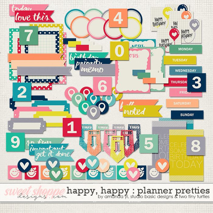 Happy Happy Planner Pretties by Amanda Yi, Studio Basic and Two Tiny Turtles