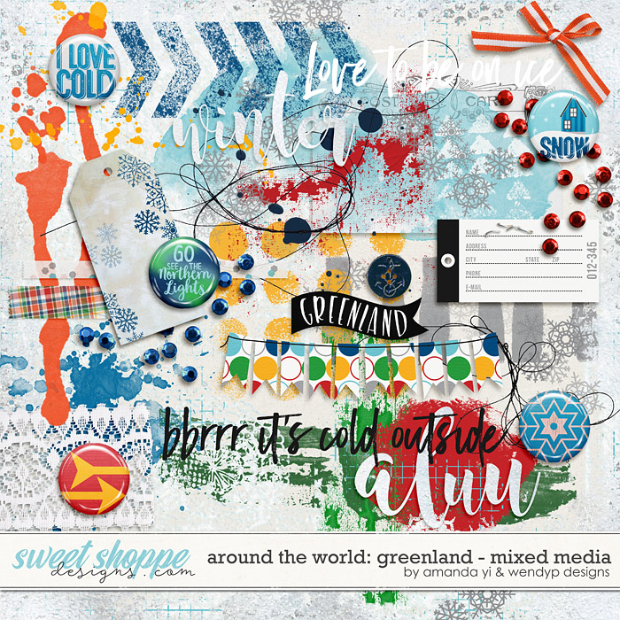 Around the world: Greenland - Mixed Media by Amanda Yi & WendyP Designs