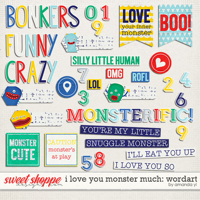 I Love You Monster Much : Wordart by Amanda Yi