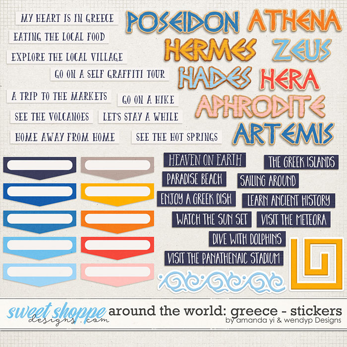 Around the world: Greece - Stickers by Amanda Yi & WendyP Designs