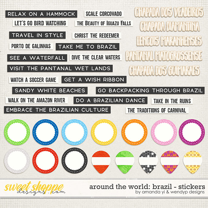 Around the world: Brazil - Stickers by Amanda Yi & WendyP Designs