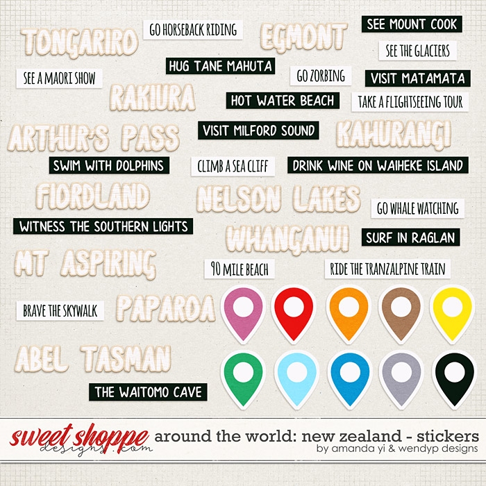 Around the world: New Zealand - Stickers by Amanda Yi & WendyP Designs