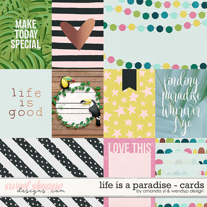 Life is a paradise: cards by Amanda Yi & WendyP Designs