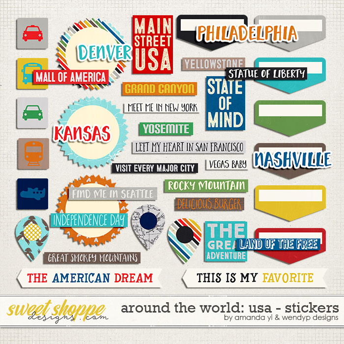 Around the world: USA - stickers by Amanda Yi and WendyP Designs