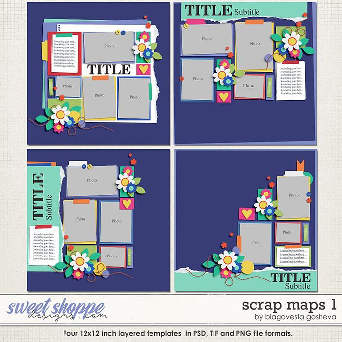 Scrap Maps 1 {layered templates} by Blagovesta Gosheva