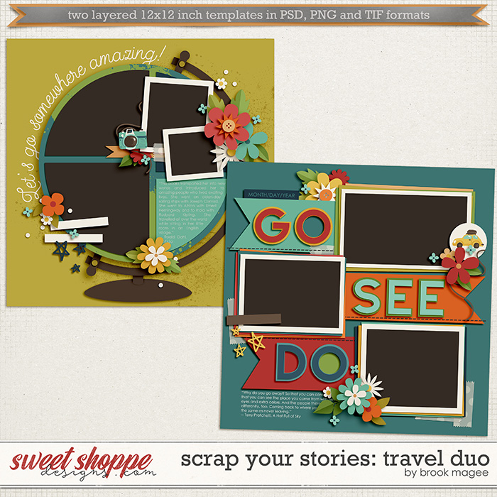 Brook's Templates - Scrap Your Stories: Travel Duo by Brook Magee