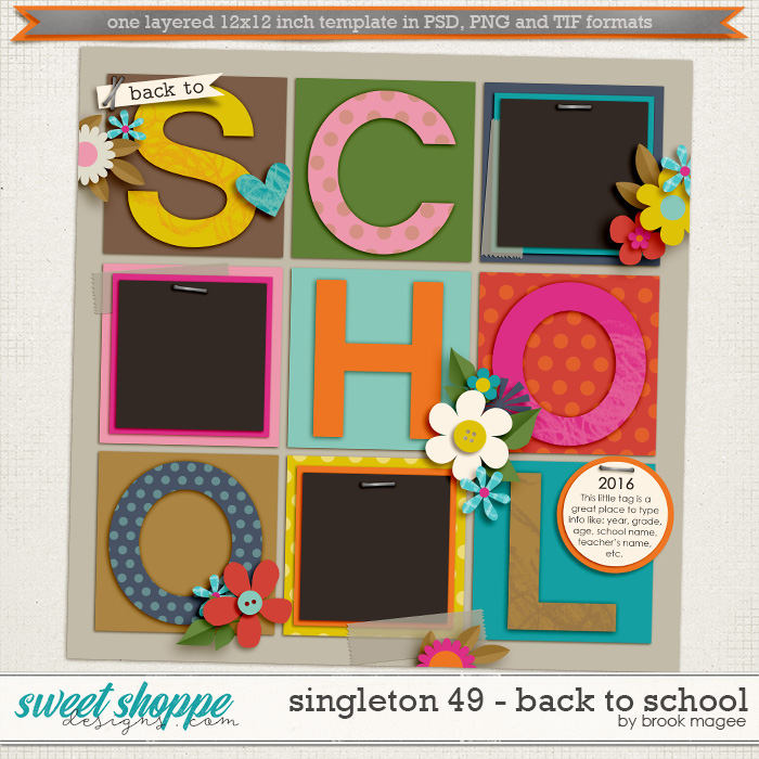 Brook's Templates - Singleton 49 - Back To School by Brook Magee