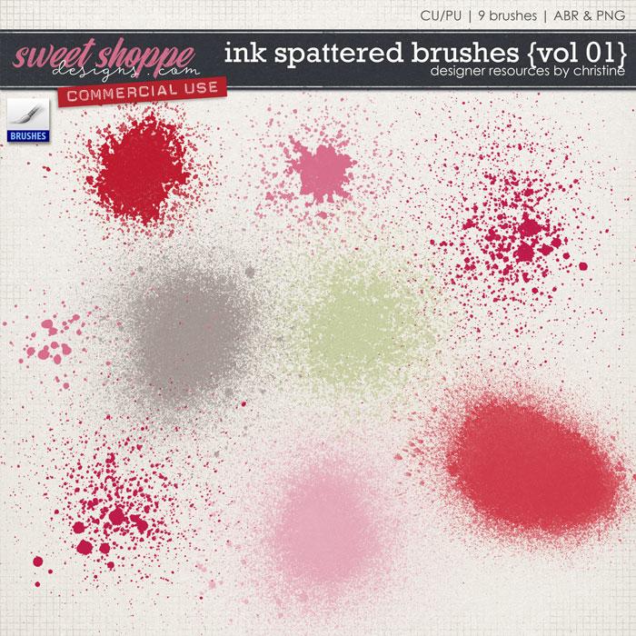 Ink Spattered Brushes {Vol 01} by Christine Mortimer