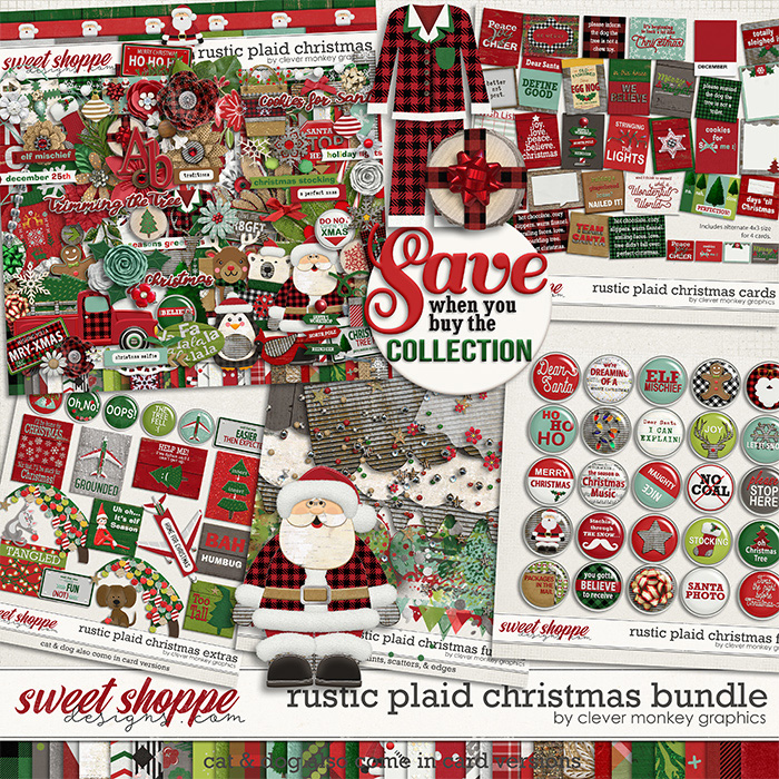 Rustic Plaid Christmas Bundle By Clever Monkey Graphics