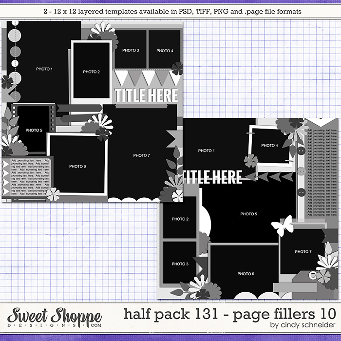 Cindy's Layered Templates - Half Pack 131: Page Fillers 10 by Cindy Schneider