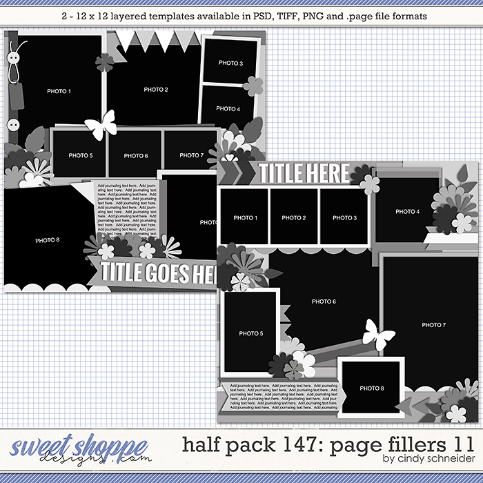 Cindy's Layered Templates - Half Pack 147: Page Fillers 11 by Cindy Schneider