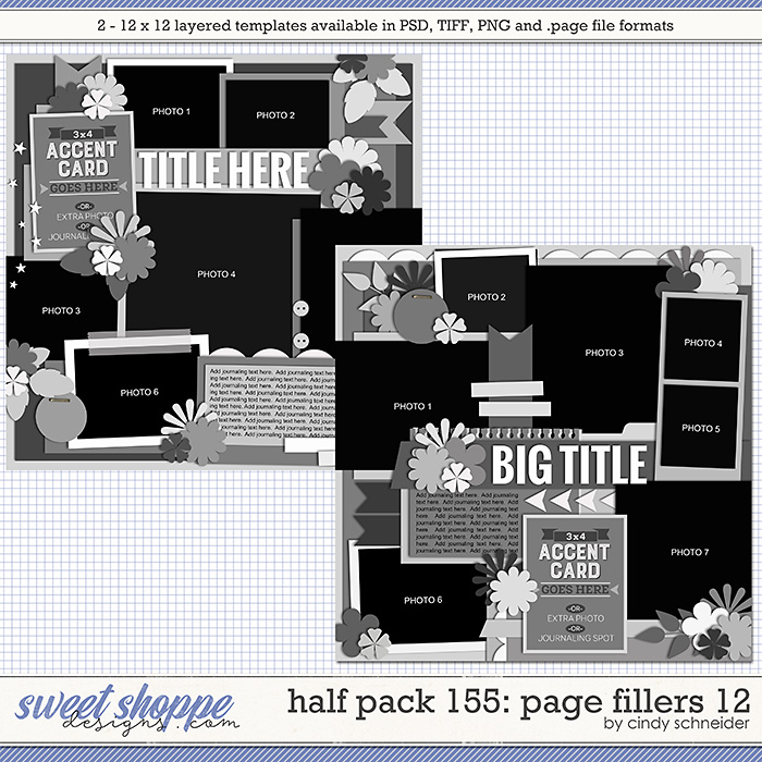 Cindy's Layered Templates - Half Pack 155: Page Fillers 12 by Cindy Schneider