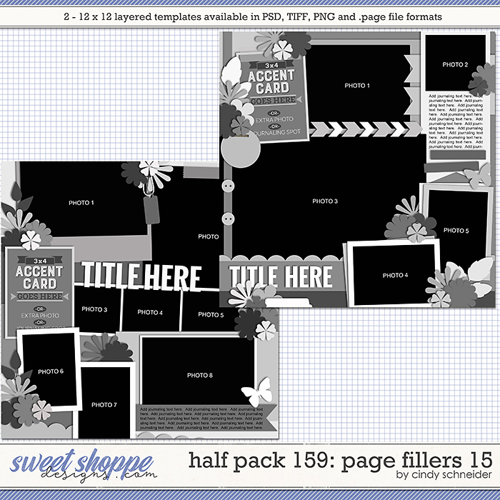 Cindy's Layered Templates - Half Pack 159: Page Fillers 15 by Cindy Schneider
