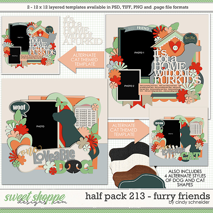 Cindy's Layered Templates - Half Pack 213: Furry Friends by Cindy Schneider