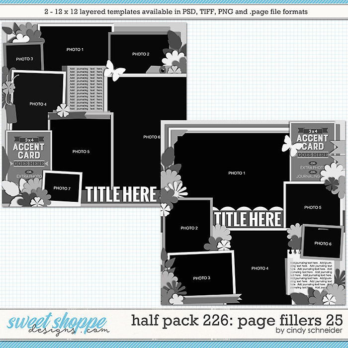 Cindy's Layered Templates - Half Pack 226: Page Fillers 25 by Cindy Schneider