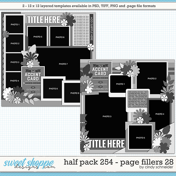 Cindy's Layered Templates - Half Pack 254: Page Fillers 28 by Cindy Schneider