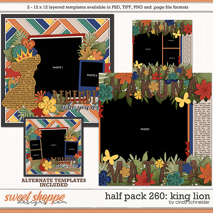 Cindy's Layered Templates - Half Pack 260: King Lion by Cindy Schneider