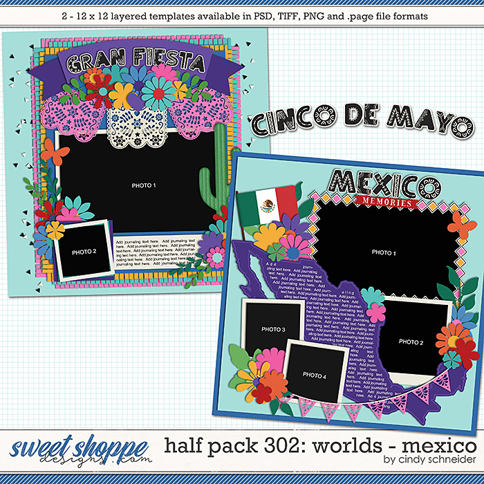 Cindy's Layered Templates - Half Pack 302: Worlds Mexico by Cindy Schneider